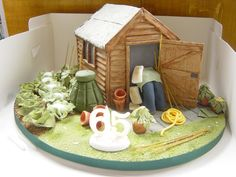 Allotment Shed Cake Fondant Cakes Kids, Allotment Cake, Ballet Cakes, 90th Birthday Cakes, Dad Cake, School Cake, Fathers Day Cake, Retirement Cakes, Garden Cakes