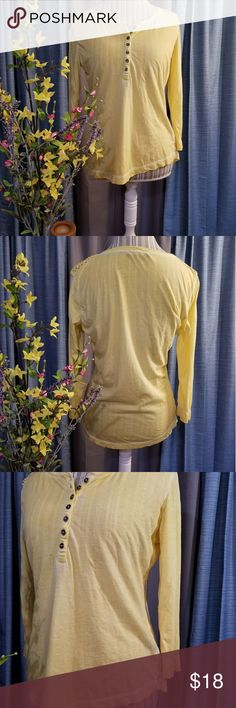 🌻🌺🌻RALPH LAUREN DISTRESSED SPRING SHIRT!! SIZE:medium    BRAND:Ralph Lauren    CONDITION:like new, no flaws    COLOR:distressed yellow (best seen in last photo)  3/4 sleeves.   🌟POSH AMBASSADOR, BUY WITH CONFIDENCE!   🌟CHECK OUT MY OTHER ITEMS TO BUNDLE AND SAVE ON SHIPPING!   🌟OFFERS WELCOME!   🌟FAST SHIPPING! Ralph Lauren Tops