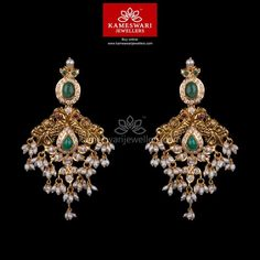 Mesmerizing collection of gold earrings from Kameswari Jewellers. Shop for designer gold earrings, traditional diamond earrings and bridal earrings collections online. Jewelry Design Earrings, Buy Earrings, Gold Earrings Designs, Gold Jewellery Design, Antique Earrings, Earrings Online, Bead Jewellery, Designer Earrings, Pendant Jewelry