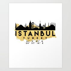 ISTANBUL TURKEY SILHOUETTE SKYLINE MAP ART - The beautiful silhouette skyline of Istanbul and the great map of Turkey in gold, with the exact coordinates of Istanbul make up this amazing art piece. A great gift for anybody that has love for this city.  graphic-design digital typography illustration vector istanbul turkey downtown silhouette skyline map coordinates souvenir gold deificus-art