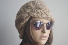 Beige GIFT for Womens hat Chemo Hat chunky knit by yagmurhat