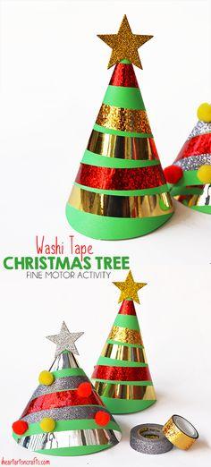 Washi Tape Christmas Tree Fine Motor Activity #holidaymagic #DontForgetTheTape #ad