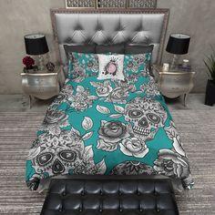 The Original Teal Sugar Skull Bedding Teal Bedding Sets, Purple Bedding, Bedding Sets Online, Queen Bedding Sets, Luxury Bedding Sets, Modern Bedding, Comforter Sets, Bed Linen Design, Bed Design