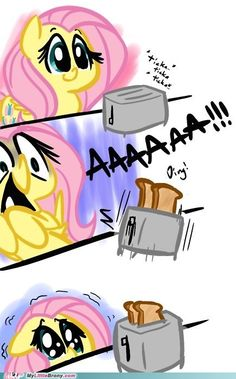 Fluttershy is afraid of a toaster!!!