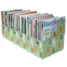 Evelots Set Of 6 Magazine File Holders Desk Organizer, File Storage With  Labels, Cat Pattern