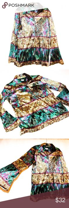 Bohemian Velvet Festival Glam Sequins Top Jacket Crinkle Velvet in gorgeous Turquoise, fuchsia, green, brown, sky blue.. A veritable garden of boho delight! Can be worn as a button down blouse, a jacket, or tie it at the waist.  EXCELLENT layering selection as well. Machine washable, bell sleeves.  Hard to see in pics, but also lightly flecked with sequins that magnify the glory and colorful hippie gypsy wonder.  Some signs or wear, use etc, but very good used condition. MEASUREMENTS in…
