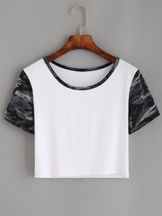 White Contrast Neck Print Crop T-shirt