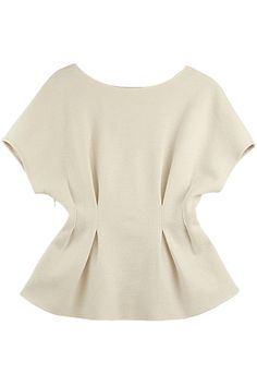 Pleated Waist Raglan Sleeves White Blouse
