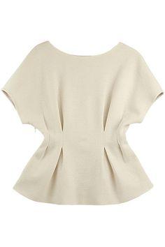 Pleated Waist Raglan Sleeves White Blouse