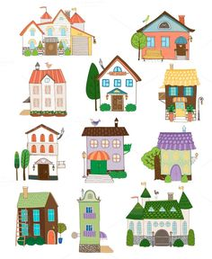 Buy Assorted Houses Collection by on GraphicRiver. Assorted cute houses collection on white background. Editable EPS and Render in JPG format Building Illustration, House Illustration, Cartoon House, House Quilts, Cute House, House Drawing, Collaborative Art, Art Lessons, Home Art
