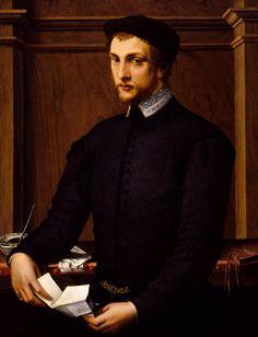 Michele Di Ridolfo Del Ghirlandaio,  (1483 – 1561, Son of Domenico) - Portrait of a Man - Uffizi Gallery, Florence