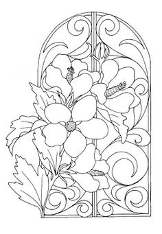 Amarna Floral stained glass patterns to color Parchment Cards, 3d Prints, Stained Glass Patterns, Coloring Book Pages, Fabric Painting, Colorful Flowers, Pretty Flowers, Line Drawing, Line Art