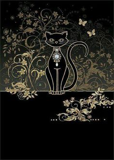 Vine Cat by Jane Crowther. Bug Art greeting cards - this card is embossed with gold & silver foil. Crazy Cat Lady, Crazy Cats, Cat Cards, Greeting Cards, Silhouette Chat, Image Chat, Black Cat Art, Black Cats, Red Cat