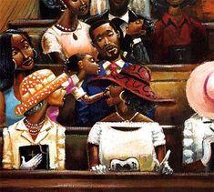 Church is where we bond learn & grow. African American Artwork, African Art, American Artists, Frank Morrison Art, Black Church, Black Artwork, Soul Art, Afro Art, Black Women Art