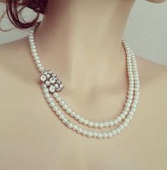 Crystal Pearl Necklace, Bridal Rhinestone Necklace, Pearl Wedding Necklace, Bridal Jewelry, Ivory White Pearl, SHANIA by sukrankirtisjewelry. Explore more products on http://sukrankirtisjewelry.etsy.com