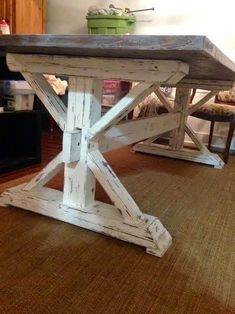 Stylish Farmhouse Table Design Ideas Which Is Not Outdated 42 Rustic Farmhouse Furniture, Farmhouse Table Plans, Farmhouse Dining Room Table, Rustic Table, Diy Table, Farmhouse Design, Farmhouse Ideas, Outdoor Farmhouse Table, Dining Rooms