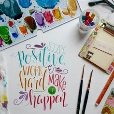 Stay positive WORK HARD & make it happen #qotd #handletteredabcs #handlettering #moderncalligraphy #fauxcalligraphy #typographymanila #typography #creativelettering #drawletters #brushlettering #positivity #goodvibes #typographyinspired #calligritype #goodtype #thedesigntip #postit #stationery #thedailytype #handmadefont #doodlesofinstagram #fortheloveofletters #fortheloveofcolors #art_we_inspire #50words #shepaintstruth #lifequotes #quotes #motivation #inspiration by katspaperfinds