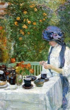 The Terre-Cuite Tea Set (aka French Tea Garden), 1910  Frederick Childe Hassam