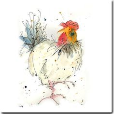Rosie Greeting Card Chicken Card Barnyard by TheSkinnyCardCompany Chicken Painting, Chicken Art, Watercolor Bird, Watercolor Animals, Watercolour Paintings, Watercolours, Rooster Art, Galo, Bird Art