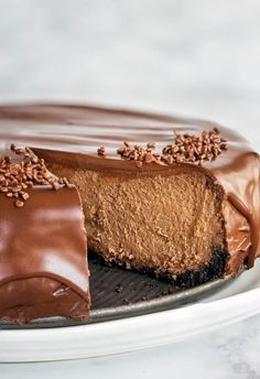 Insanely decadent chocolate cheesecake for your indulgence!It's like biting into creamy chocolate truffle, but in a cheesecake form.