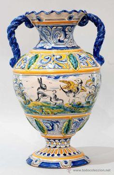 JARRÓN ANFORA EN CERÁMICA ESMALTADA DE TALAVERA SASO (Antigüedades - Porcelanas y Cerámicas - España - Talavera)