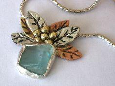 Aquamarine Sea Glass and silver necklace with copper by riorita, $190.00