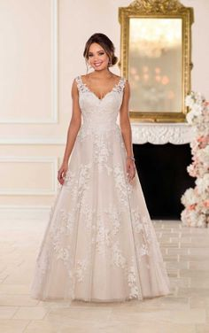 Stella York Bridal 6649 This wedding dress is a girly-girl's dream come true! In a relaxed A-line silhouette, this wedding dress by Stella York was inspired by a w Wedding Dress Organza, Wedding Dresses With Straps, Wedding Dresses Plus Size, Plus Size Wedding, Perfect Wedding Dress, Dream Wedding Dresses, Bridal Dresses, Lace Wedding, Gown Wedding