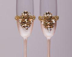 Wedding Flutes Wedding Glasses Champagne Glasses Rose by SolBijou