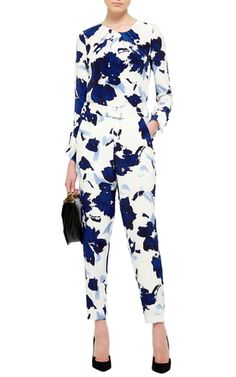 High Waisted Floral Printed Pants by OSCAR DE LA RENTA Now Available on Moda Operandi