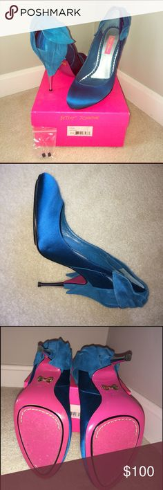 Love this turquoise color! Betsy Johnson Heels These shoes are gorgeous!  Turquoise heels with beautiful details.  Box and spare heel taps included. Only worn once. Betsey Johnson Shoes Heels