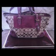 Previously Loved % Authentic Coach Purse!  New pics will be posted once I clean it up!This Coach purse definitely got a lot of use, but could still get a lot more! Great color for the fall! The entire purse could easily be cleaned. The handles show the most wear. Comes with bag and box. Coach Bags