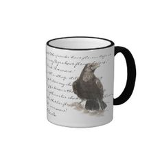 Mug featuring a beautiful and moody hand drawn watercolor of a raven illustrating a verse from Edgar Allen Poe.