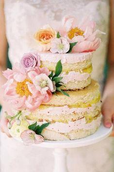30 Summer Wedding Trends And Ideas � summer wedding trends naked cake with pink flowers and cream jessicagoldphoto #weddingforward #wedding #bride #weddingcake #summerweddingtrends
