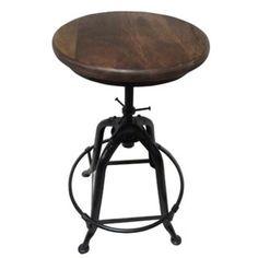 Solid Wood Seat/Full Metal Legs Adj.-Height Barstool