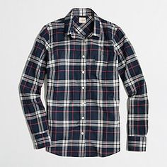 Factory classic button-down shirt in plaid