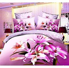 Shuian® Duvet Cover Set, 4 Piece Suit Comfort Simple Modern Ventilation Printed  3D Pattern Full – USD $ 28.99