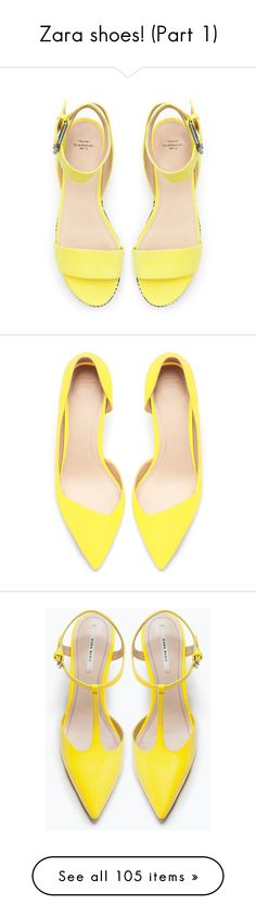 """""""Zara shoes! (Part 1)"""" by blueladybird ❤ liked on Polyvore featuring shoes, sandals, heels, flats, yellow, yellow flats, flat heel shoes, yellow sandals, zara shoes and zara flats"""