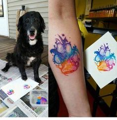 Dog print water color tatoo