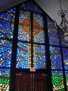Stained glass window in Buffalo Trail Baptist Church, Morristown, TN