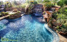 Salt water pool, bridge, waterfalls, cave, slide :)