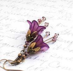 Lucite Flower Earrings Purple Earrings Dangle Earrings Gothic Earrings Floral Jewellery Long Crystal Drop Unique Earrings Purple Jewelry on Etsy, $28.00