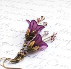Lucite Flower Earrings Purple Dangle Earrings Botanical Floral Jewellery Long Crystal Drop Stocking Stuffer For Her Antique Brass Leaf