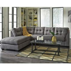 Benchcraft Maier Sectional with Left Side Facing Chaise in Charcoal Microfiber, FBC-2349LFSEC-CRC-GG by Flash Furniture | BizChair.com