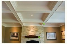 Living room: Coffered box beam ceiling, non-contrast, recessed mini-halogen fixtures, focal light stone fireplace