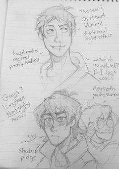 "inkymint: ""Another klance comic that I doodled on scrap paper Cheap paper is so low pressure I can just, sketch away it's nice Also I'm gonna line this and make it look nice and maybe add a kiss idk I'm in klance hell """