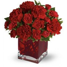 Simply speaking, red means romance. Send this bouquet of vibrant red carnations to your sweetheart and you'll convey passion, energy and desire.