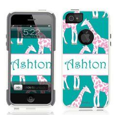 iPhone 5 Case White Hybrid Giraffes Monogram by Unnito