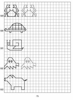 simple shapes on graph paper 63 - suitcase, plane, rabbit, bactrian camel Graph Paper Drawings, Graph Paper Art, Cool Drawings, Blackwork Patterns, Cross Stitch Patterns, Mother Tattoos, Busy Book, Elements Of Art, Simple Shapes