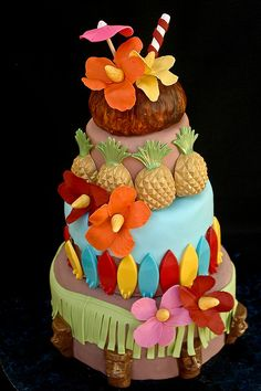 Tropical luau cake