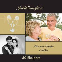 Entdeckt tolle Goldene Hochzeit Jubiläumskarten in unserer großen Bildergalerie - damit werden eure Gäste auf die besondere Feier eingestimmt.